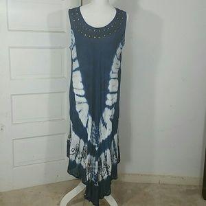 Sun Dress Maxi Blue white tie dye distressed bead